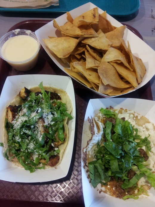 Chips And Queso, Pollo Asada Taco And Carne Asada Quesadilla