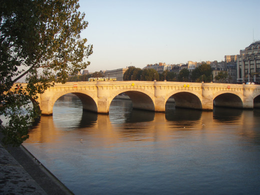 The sun rising on the Seine River.  You can see why Paris held an allure for writers.