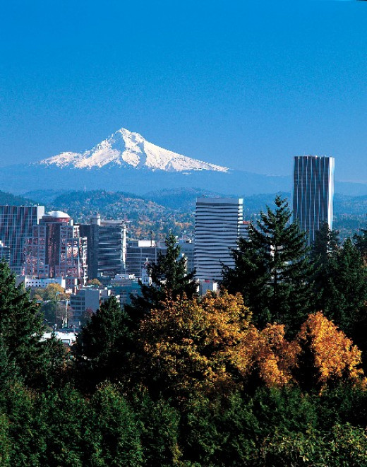 Portland with Mt. Hood to the east