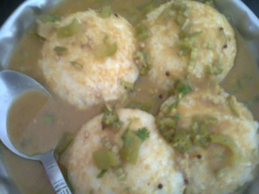 Sambar served on idlis