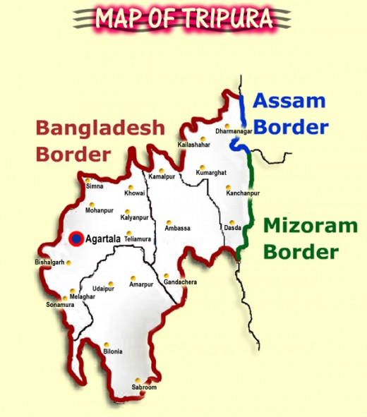 Tripura is a peaceful state in the northern India governed by Left Front.