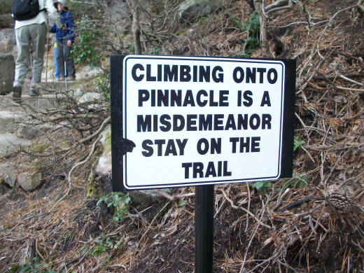 This sign is located at the base of the Big Pinnacle (see the main photo at the beginning of this hub).  Climbing is not allowed here to protect the ecological system as well as the rocks.