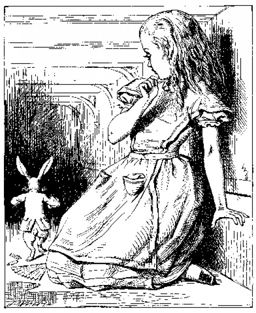 Alice at the bottom of the rabbit hole.