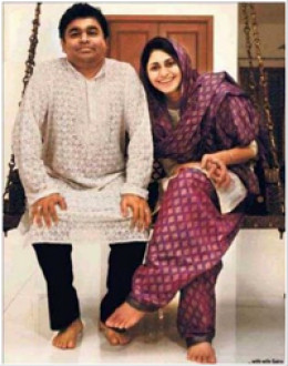Happy man with wife Saira Rahman