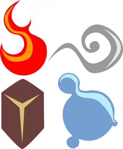 The Four Elements Fire, Earth, Air and Water