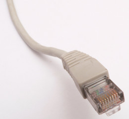 The RJ45 endpoint of a twisted-pair Ethernet cable