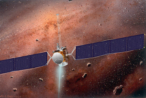 America's Dawn spacecraft inside the large asteroid belt.