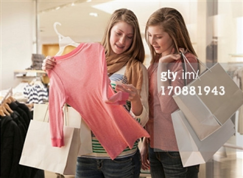 Sharing moments of shopping.