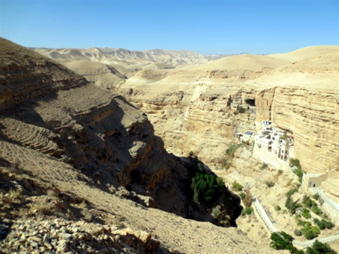Wadi Qelt (Valley of Shadow). St. George monastery can be seen clings to the rock.