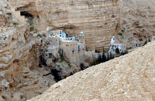 Close up view of St. George Monastery belongs to monks of Greek Orthodox order.