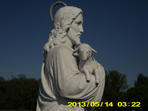 Photo of Jesus statue with the lamb, taken by Debra Wilson.