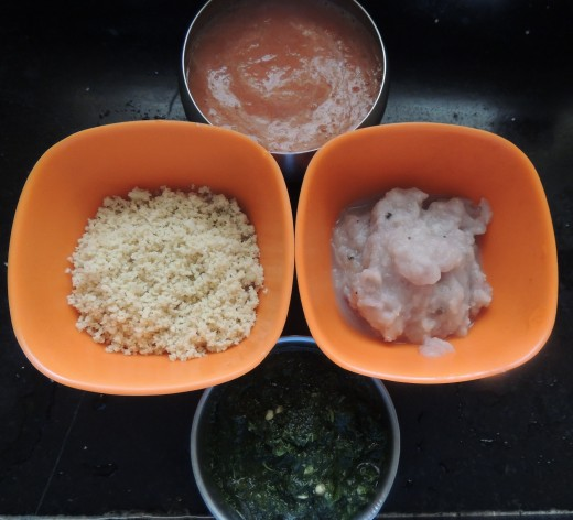 From Left--Cashew-nut paste,tomato puree,boiled onion paste,coriander plus green chili paste