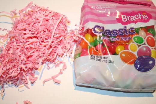 Jelly Beans and Paper Shreds fill the bunny bag.  Upcycle your own used tissue paper by shredding it in a paper shredder.