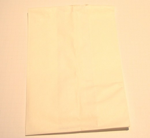Start with the upper portion of white lunch bag that was set aside from the previous project.