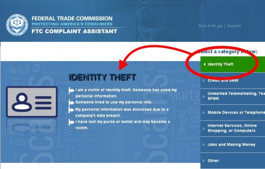 Screenshot of the FTC's site of where to file your complaint. Click the image to enlarge.