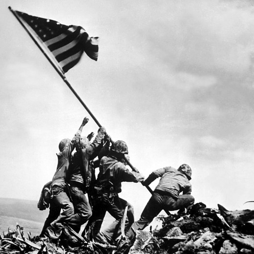 The US Flag over Iwo Jima. The most famous picture from the Pacific Front of World War 2