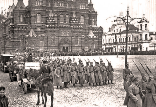 Bolsheviks Marching in Moscow during the Russian Civil War