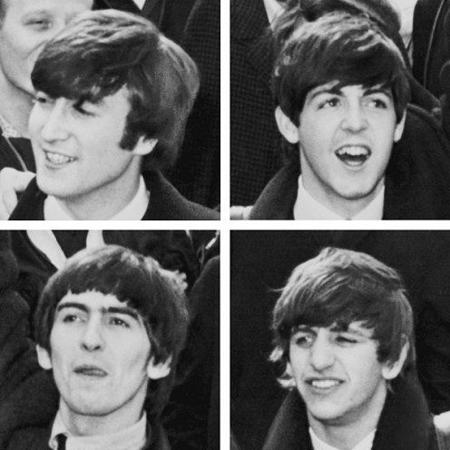 "Black and White layout of the Singing Group ""The Beatles."""