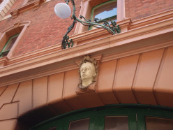 Queen Victoria's head, a fire station near Hyde Park, Sydney.