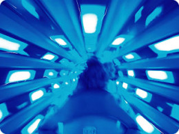 A rider's eye view from within the neon Launch Tube inside Magic Kingdom's Space Mountain.