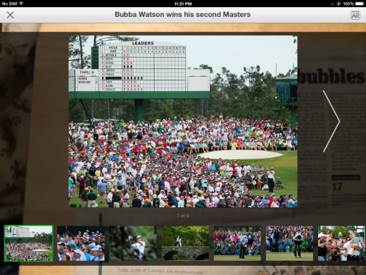 A slide show of the 2014 Masters Tournament loaded as augmented reality content from Burnaby NOW and viewed away from the newspaper page