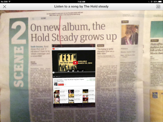 The Metro newspaper allows someone to read an article about the Hold Steady and then listen to a sample of their latest music.