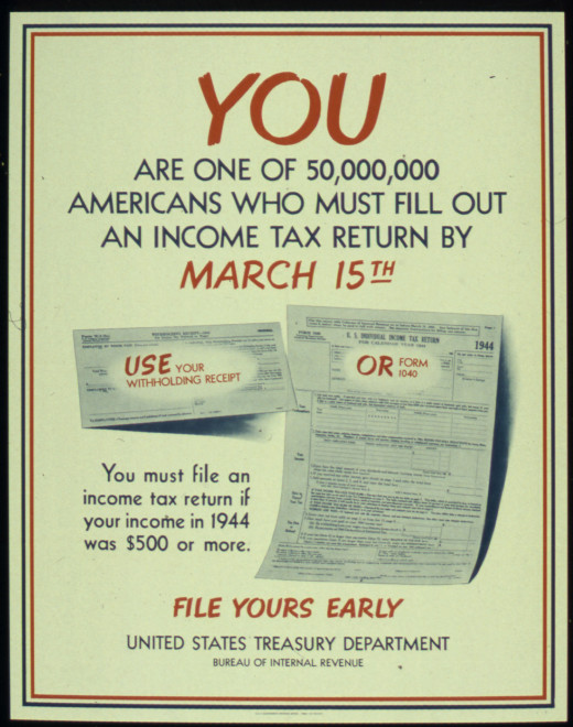 IRS Poster Reminding People To File their 1944 Tax Returns