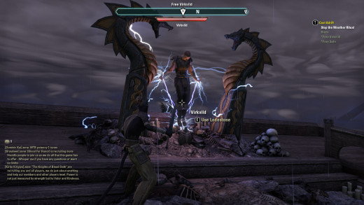 Attempting to free a captive held by means mystical during the Cast Adrift quest of The Elder Scrolls Online.