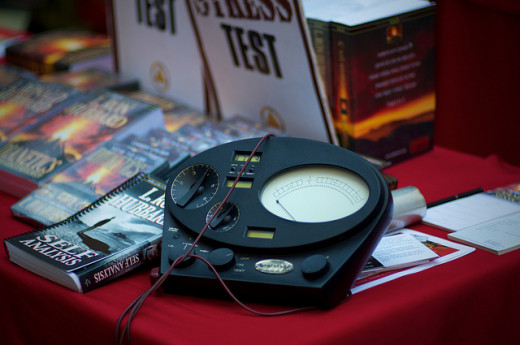 Stress measuring device (E-Meter) scientologists use to identify ingrained memories (engrams)