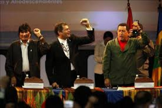 (from left to right): Presidents Evo Morales (Bolivia), Rafael Correa (Ecuador) and Hugo Chavez (Venezuela)