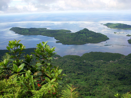 View of Kolonia, Pohnpei, FSM from Sokehs Rock