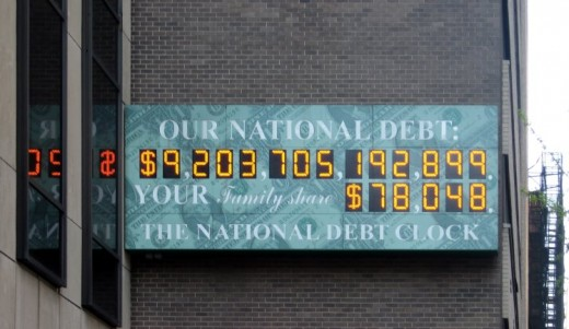 Your personal debt plus your share of our national debt equals your total debt. There is not much you can do about your share of our national debt. Image credit: Wikipedia