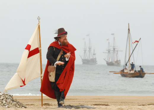 Reenactment of the first landing in Jamestown VA in 1607. Actor is Dennis Farmer as Capt. John Smith, 2007.