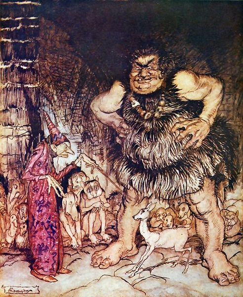 The giant Galligantua and the wicked old magician transform the duke's daughter into a white hind. by Arthur Rackham