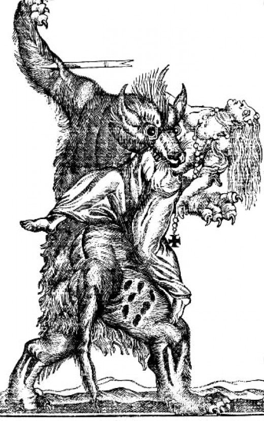engraving of a werewolf attack possibly 18th century