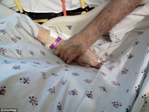 Holding hands in hospital hallway, Frank on his way to a hospice, Eleanor just being admitted to the hospital. It would be the last time they saw each other.