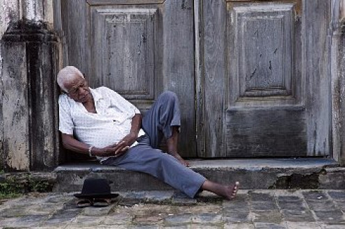 Napping anywhere is a natural thing to elderly men.