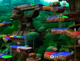 Intro view of DK's Treetop Temple. There's waterfalls, barrels, evil Piranha plants which eat the players and more!
