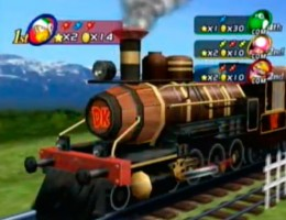 Shy Guy's Perplex Express. Players walk a board game inside all of the carriages, including a restaurant carriage.
