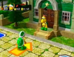 Investing gold in a hotel in Koopa's Tycoon Town. The player who puts the most gold in wins the hotel.