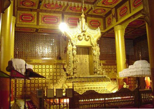 The Lion Throne of the last Myanmar dynasty