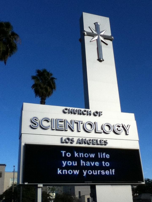 """To know life you have to know yourself."" Church of Scientology in Los Angeles."