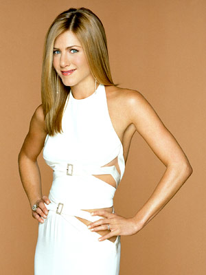 A promotional photo of actress Jennifer Aniston, who starred as Rachel Green on the NBC sitcom Friends.
