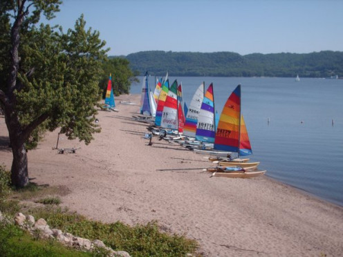 Regatta at Lake Pepin, MN.  Mike's Hobie is the third from the right.