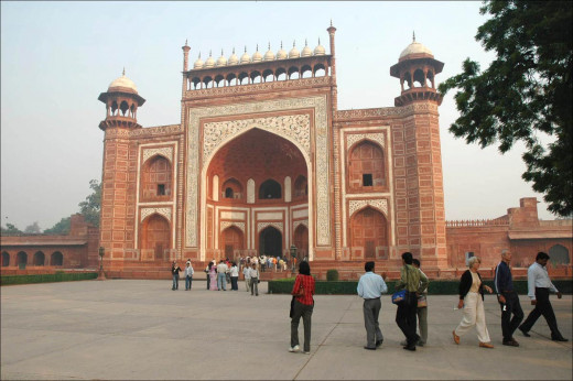 At last we saw the imposing high gate of the marvelous edifice. This beautiful gate made of red stone is called as Buland Darwaja.