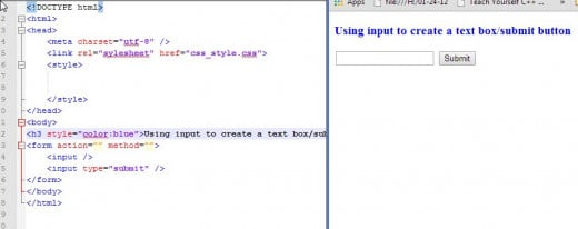 In this example we create both an area for text input and a button to submit the input by using the HTML  element.