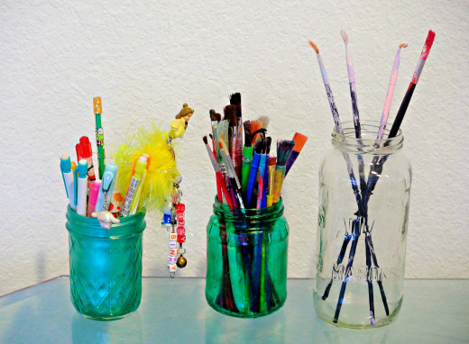 Hold paint brushes, office and other art and craft supplies in jars.