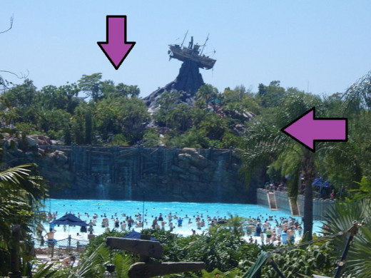 The area behind the wave pool is actually a nature trail with  man made waterfalls.