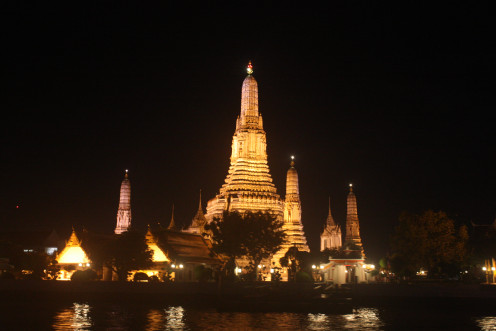 The Wat Pho at Night from the Chao Phraya Princess Dinner Cruise