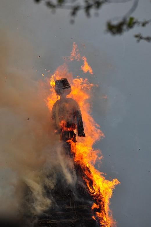 Böögg burning in Zurich, Switzerland 2012.